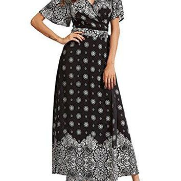BerryGo Womens Boho V Neck Split Ruffled Floral Print Chiffon Elegant Summer Beach Wrap Floor Length Maxi Dress