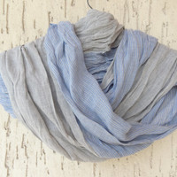 Handwoven infinity scarf,  Blue,Grey Striped Scarves, Natural,Organic Scarf, Fashion accessories, Women Scarves