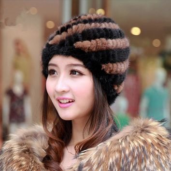 Real Mink Fur Hat For Girls Cap Fur Women Spiral Stripe Design Brand Warm Winter Beaneis Furry Skullies Flufly Caps Females
