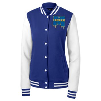 Michigan Wolverines I Bleed Blue Women's Fleece Letterman Jacket