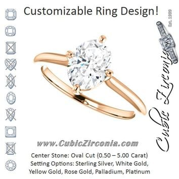 Cubic Zirconia Engagement Ring- The Adora (Customizable Oval Cut Solitaire with Raised Prong Basket)
