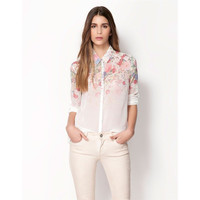 White Floral Print Cuffed-Sleeve Collared Chiffon Blouse