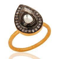 Antique Cut Crystal Quartz Gold Plated 925 Sterling Silver Victorian Style Ring