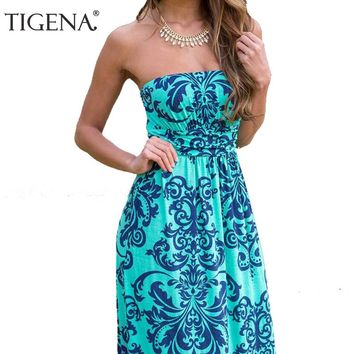 TIGENA Boho Summer Dress Women 2018 Summer Sundress Tunic Off Shoulder Floor Length Long Maxi Beach Dress Shirt Robe Femme