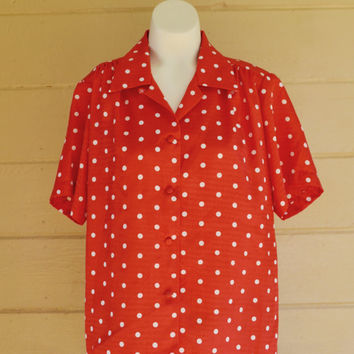 Vintage 1980s Red and White Polka Dot Shirt Shiny Silk Shirt Button Down Polyester Blouse