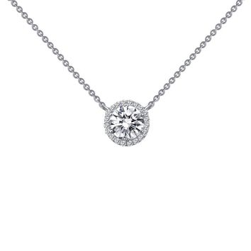 Lafonn Classic Sterling Silver Platinum Plated Lassire Simulated Diamond Necklace (1.23 CTTW)