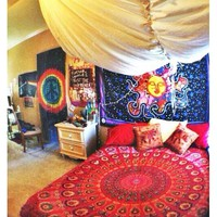 Feather Indian Mandala Throw Hippie Wall Hanging Dorm Decor Tapestry