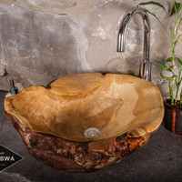Backorder Large Handcarved Wood Vessel Sink by TOUTANBWA Mate to order with Yellow Birch Burl bark details Bathroom OOAK country chic decor