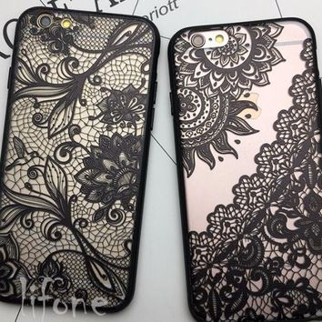 Kerzzil Lace Mandala Rose Henna Skirt Case Cover For iPhone 6 6S 3D Sunflower Back For iPhone 6 7 6S Plus Couque Capa