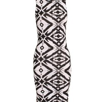 Monochrome High Neck Tribal Print Midi Dress | ChiaraFashion