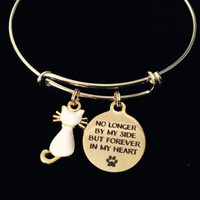 Gold White Cat Memorial Expandable Charm Bracelet Adjustable Bangle Pet Loss Gift Kitten
