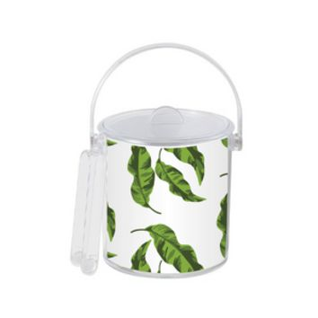 Leaves Ice Bucket with Gold Monogram