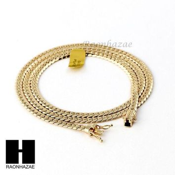 DCCKH7E 14k Gold Finish Heavy 5mm Miami Cuban Link Chain Necklace Bracelet Various Set D