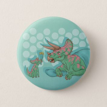 Triceratops Giving Flowers Button