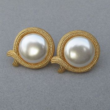 Signed NAPIER Vintage Faux Pearl Large Clip Gold Tone Button Earrings