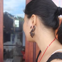 "Tribal Fake Gauge Wood Earring, Sono ""Sandhy"" Faux Gauge Tribal Earrings, Bali Handmade Wooden Earring"