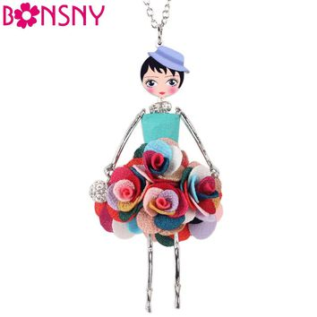 Bonsny Statement Flower Doll Necklace Dress Handmade French Doll Pendant News Alloy Girl Women Flower Fashion Jewelry