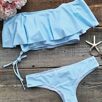 Cupshe Blue Summer Sewing Falbala Halter Bikini Set
