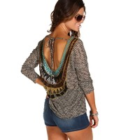 Crochet Back Knit Sweater