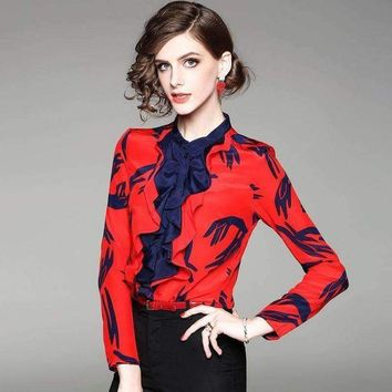 DCCKON3 100% Silk Blouse Women Lightweight Fabric Printed Patch Ruffles O Neck Long Sleeves Formal Tops Elegant Style New Fashion 2018