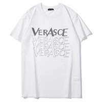 Versace hot seller of fashion couples hot diamond LOGO casual t-shirts with short sleeves White