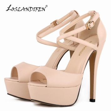 LOSLANDIFEN Women Pumps Fashion Platform Peep Toe Matte Leather Buckle Bride Shoes Wom