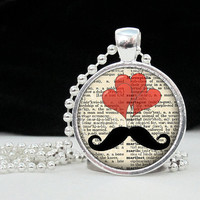 Moustache Heart Pendant Art Pendant Charm Pendant  by 4Tdesigns