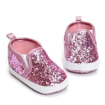 CUPUP9G First Walkers Girls Shoe Newborn Toddler Crib Shoes Soft Sole Anti-slip Baby Sneakers Sequins Bling Bling Shoes bebek ayakkabi