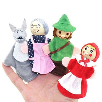 DCCKL72 Hot Sale Little Red Riding Hood and Wolf Fairy Story Play Game Finger Puppets Toys Set  7YIL 92LY