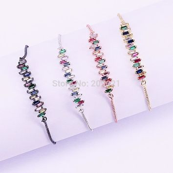 10Pcs New Simple Micro Pave CZ Crystal Connector Charm Adjustable Chain Macrame Women's Bracelet For Gifts