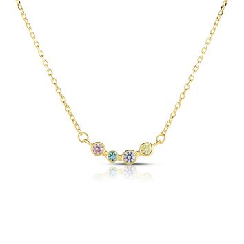 5 Bezel Set Diamond Simulant CZ Sterling Silver Chain Necklace