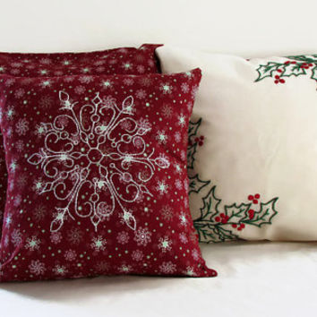 Christmas Cushion set, 3 pillow cover set red snowflake fabric with hand embroidered holly leaves and snowflake , Christmas decor