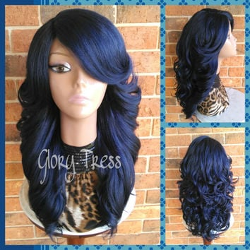 READY To SHIP // Long & Curly Lace Front Wig, Blue Wig, Bombshell Wig // SALVATION (Free Shipping)