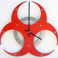 Biohazard Wall Clock I (Fire Orange) Custom Colors Available