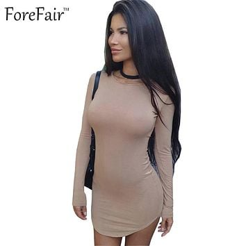 ForeFair 2016 S-XXL long sleeve casual autumn t shirt dress women plus size slim cotton mini sexy bodycon party dress
