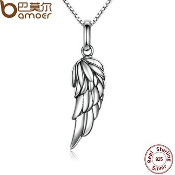 Authentic 925 Sterling Silver Feather Wing Pendant Necklace Necklace Fine Jewelry SCN026