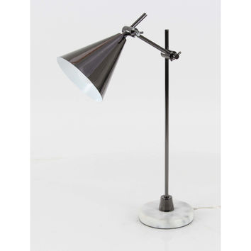 Simple Gray Metal Marble Task Table Lamp
