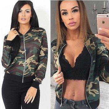 Women Vintage Military Camo Classic Padded Bomber Camouflage Coat Outwear Jacket