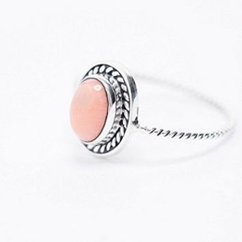 Sterling Silver Peach Stone Ring - Urban Outfitters