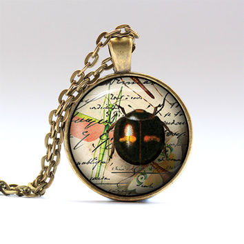 Insect jewelry Bug necklace Beetle pendant RO191