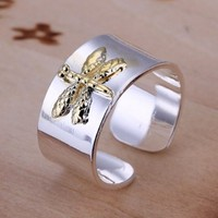 DUMAN 925 Solid Silver Plated Ring Nickel Free Two Tones Fashion Jewelry Gold Dragonfly Adjustable Ring Valentine's day, Christmas Gifts