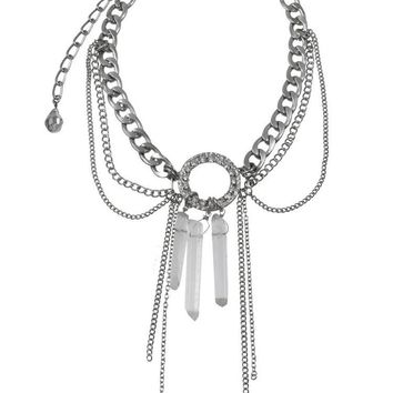 """LOVE AND MADNESS """"GO KICK ROCKS"""" CRYSTAL & CHAIN NECKLACE"""