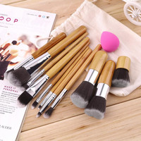 11Pcs Makeup Eyeshadow Foundation Concealer Brushes Sets+ Sponge Blender Puff