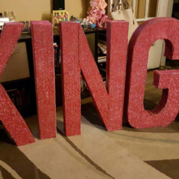 Bling on a roll letters-free standing letters- BLING covered -wedding day-monumental  birthday -34 inch tall letters -block letters
