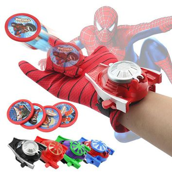 New Spiderman Superhero Glove Laucher Props Captain America Hulk Ironman Avengers Boys Kids Party Cosplay Glove Prop Toy Gifts