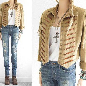 Military Jacket Leather Fringe Jacket Band Jacket Steampunk Clothing Marching Band Navajo Indian Leather Epaulette Double D Ranch Size S