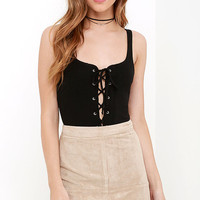 City of Angels Black Lace-Up Bodysuit