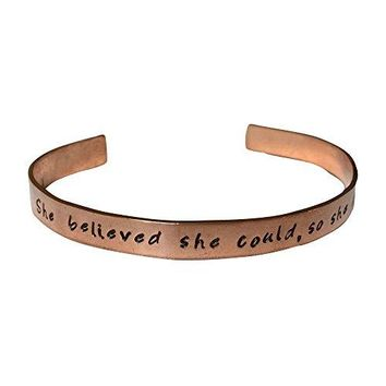 She Believed She Could So She Did Hand Stamped 14quot Copper Cuff Bracelet