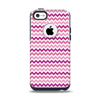 The Subtle Pinks and White Chevron Pattern Apple iPhone 5c Otterbox Commuter Case Skin Set