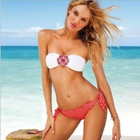 2013 new 2pcs sexy women's bikini trikini beach wear swimsuit with crystal pink size L